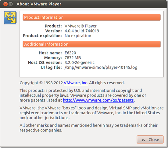 About VMware Player_022