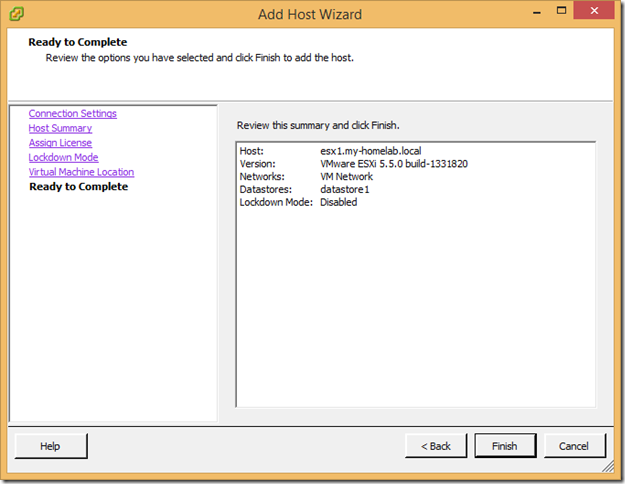 Installing the Home Lab – Configuring Datacenters and Hosts